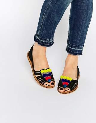 Asos Design JAFAR Leather Embellished Pom Pom Summer Shoes