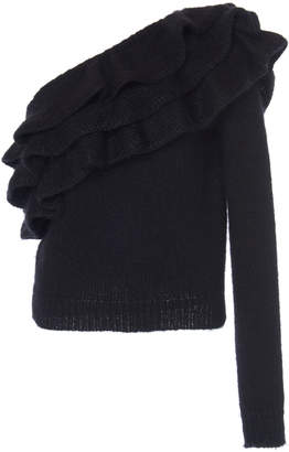 Philosophy di Lorenzo Serafini Ruffled One-Shoulder Ribbed-Knit Sweate