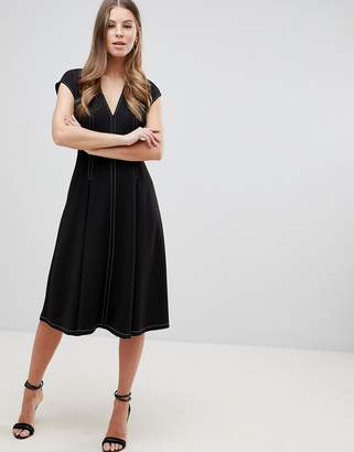 Asos DESIGN fit and flare midi dress with contrast stitching