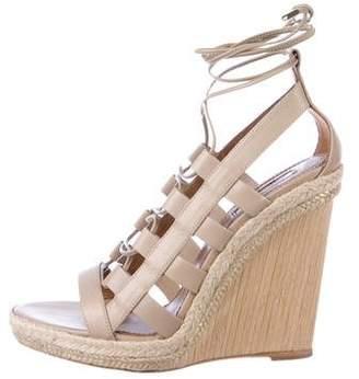Aquazzura Leather Wedge Sandals