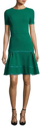 Oscar de la Renta Short-Sleeve Lace-Trim Dress, Green