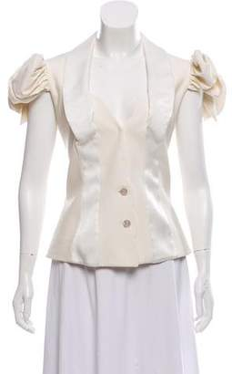John Galliano Wool-Blend Cap Sleeve Top