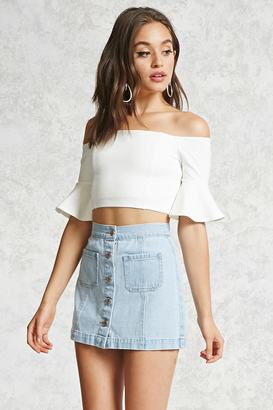 FOREVER 21+ Button-Front Denim Skirt $19.90 thestylecure.com