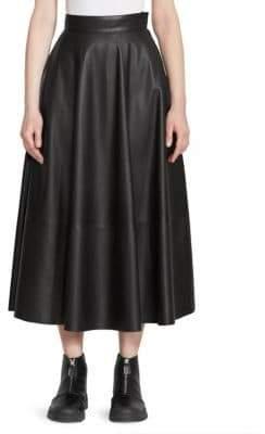 Loewe Leather Midi Flare Skirt