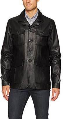 Bugatchi Men's Leather Blazer Style Jacket with Front Pockets