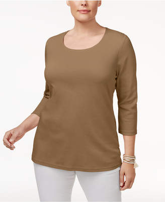Karen Scott Plus Size Cotton Scoop-Neck Top