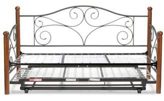 Leggett & Platt Doral Complete Metal Daybed with Link Spring and Trundle Bed Pop-Up Frame, Matte Black Finish, Twin