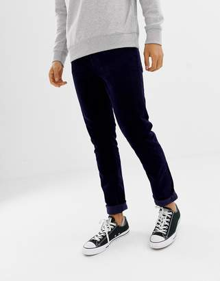Weekday friday skinny cord trousers dark blue