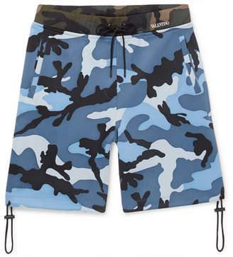 Valentino Camouflage-Print Jersey Drawstring Shorts