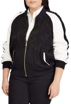 Lauren Ralph Lauren Plus Two-Tone Bomber Jacket