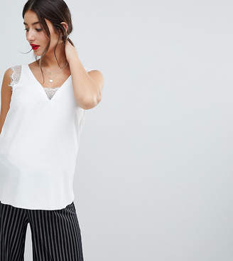 Asos DESIGN Maternity deep plunge lace insert camisole tank in white