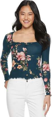 Candies Juniors' Candie's Long Sleeve Squareneck Floral Top