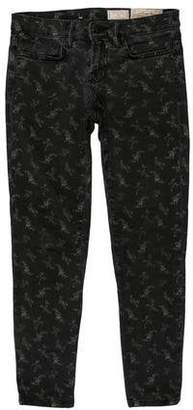 AllSaints Printed Mid-Rise Jeans