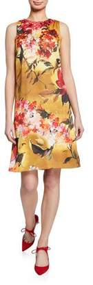 Theia Floral-Print Beaded-Neck Sleeveless A-Line Dress
