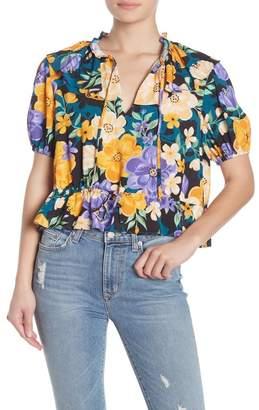 Tularosa Beatrice Short Sleeve Floral Print Blouse