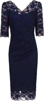 Jolie Moi 34 Sleeve Scalloped Lace Dress