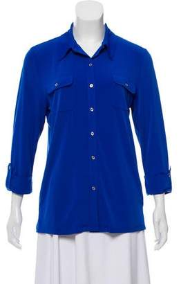 Karl Lagerfeld Long Sleeve Button-Up Top