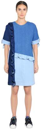 SteveJ & YoniP Cotton Denim Patchwork Dress