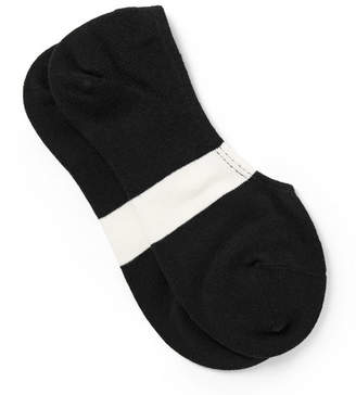 N/A Striped Stretch Cotton-Blend No-Show Socks