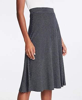 Ann Taylor Petite Stripe Seamed Knit Full Skirt