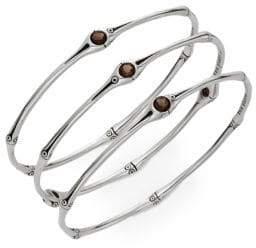 John Hardy Set of Three Smoky Quartz & Sterling Silver Bracelets