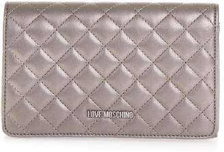 Love Moschino Pewter Color Quilted Faux Leather Bag