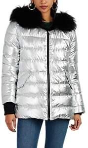 Yves Salomon Army by Women's Reversible Fur & Metallic Tech-Fabric Puffer Jacket - Silver