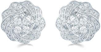 FINE JEWELRY 1/2 CT. T.W. Genuine White Diamond Sterling Silver 11.8mm Flower Stud Earrings
