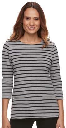 Croft & Barrow Petite Zip-Pocket Sweater