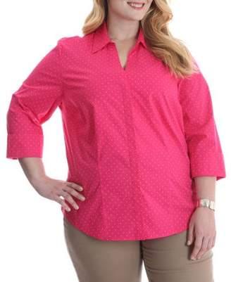 Lee Riders Women's Plus 3/4 Sleeve Classic Career Shirt