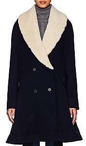 J.W.Anderson Women's Shearling-Trimmed Virgin Wool Coat - Navy