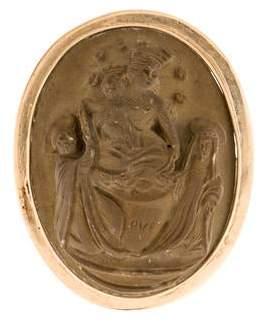 14K Carved Religious Motif Lava Pendant