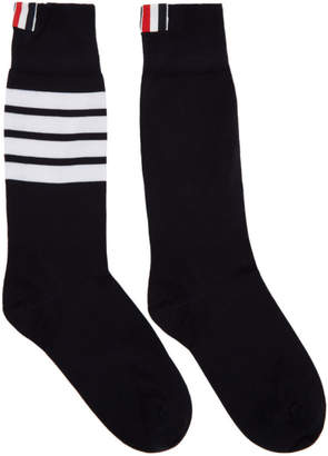 Thom Browne Navy Lightweight Cotton Mid-Calf Socks