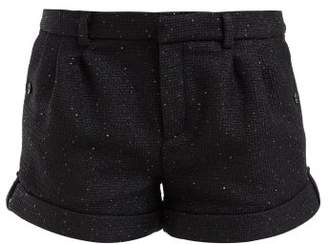 Saint Laurent Turned Up Cuff Sequinned Tweed Shorts - Womens - Black