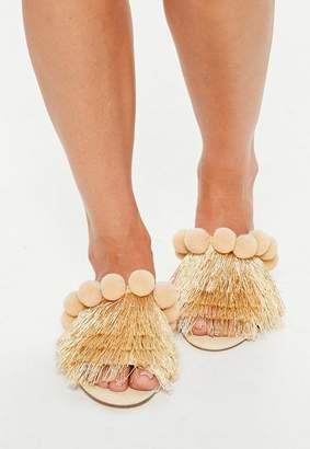 Missguided Cream Pom Pom Multi Colour Slip Sandals