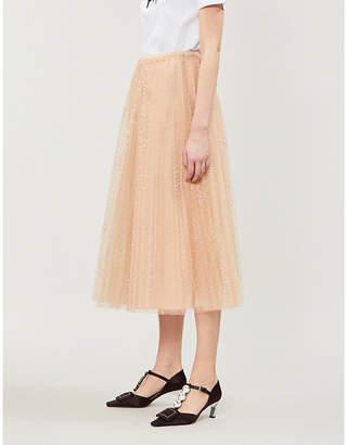 RED Valentino Polka dot mesh midi skirt