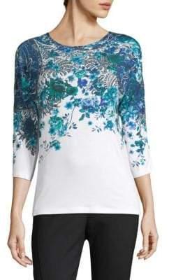 Elie Tahari Malinda Floral Three Quarter Sleeve Top