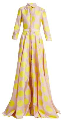 Carolina Herrera Point Collar Polka Dot Gown - Womens - Pink Multi