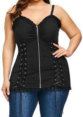 c2c541e607e BOBOYU-Women Lace up Strapless Spaghetti Strap Zipper Plus Size Tank Top  Shirts XL