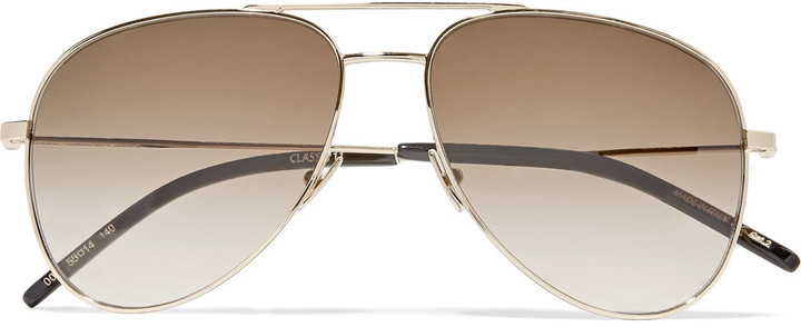 Saint Laurent Saint Laurent Classic 11 aviator-style gold-tone sunglasses