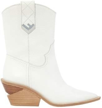 Fendi Cowboy White Leather Boots