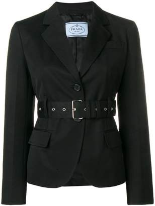 Prada belted fitted blazer
