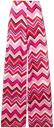 M Missoni zigzag pattern palazzo trousers