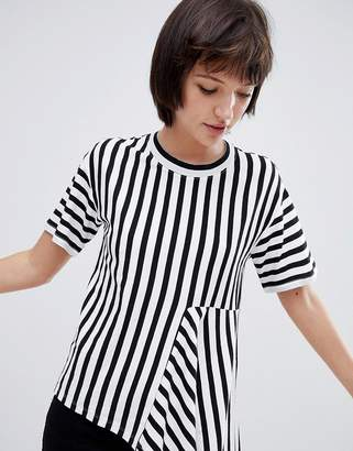 Monki asymmetric stripe tee in black and white