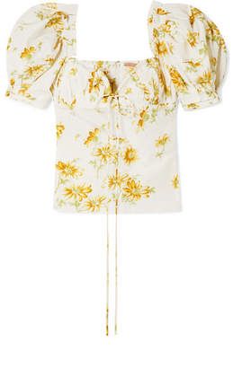 Brock Collection Trixie Floral-print Voile Top - Pastel yellow