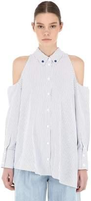 Sjyp Cut Out Striped Shirt