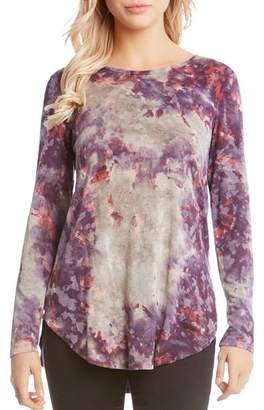 Karen Kane Watercolor-Print Long-Sleeve Tee