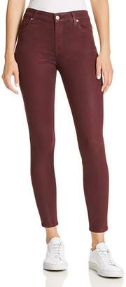 7 For All Mankind Coated Ankle Skinny Jeans in Bordeaux