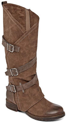 POP Womens Foster Riding Boots Stacked Heel Buckle