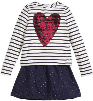 Joules Lucy Sequin-Heart Striped & Polka-Dot Dress, Size 3-10